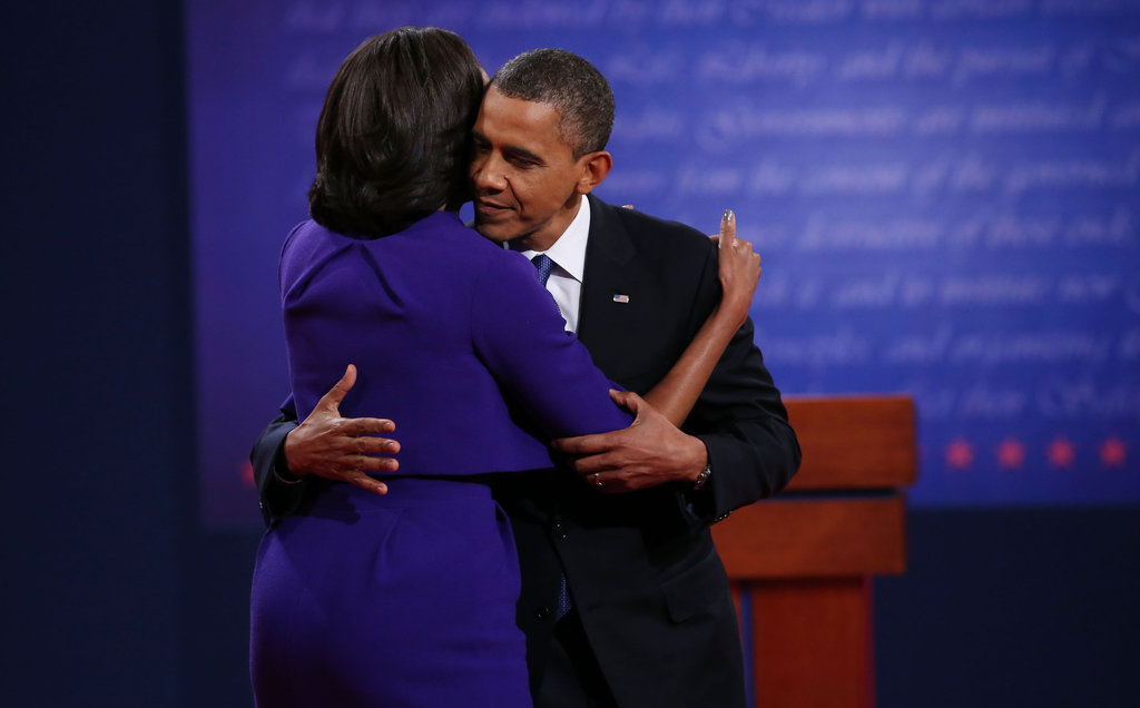 The Obamas hugged each other following the first presidential debate in Denver, CO.