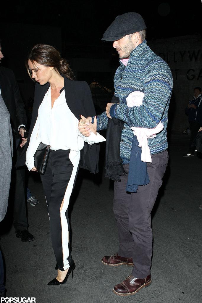 David and Victoria Beckham saw Barbra Streisand perform in LA in November.