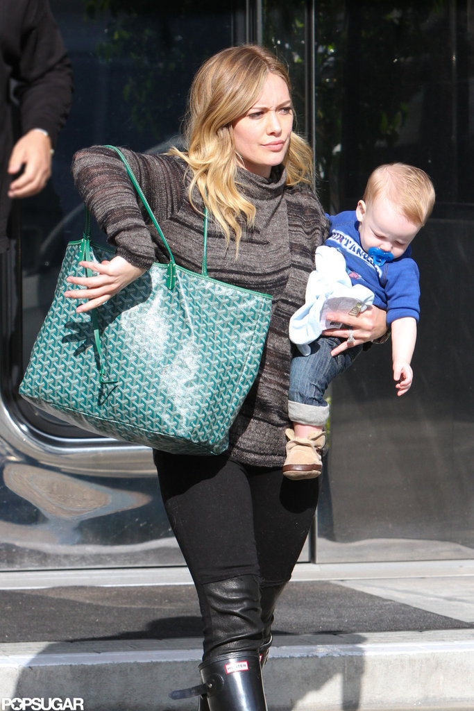 Hilary Duff carried Luca on her hip in LA.