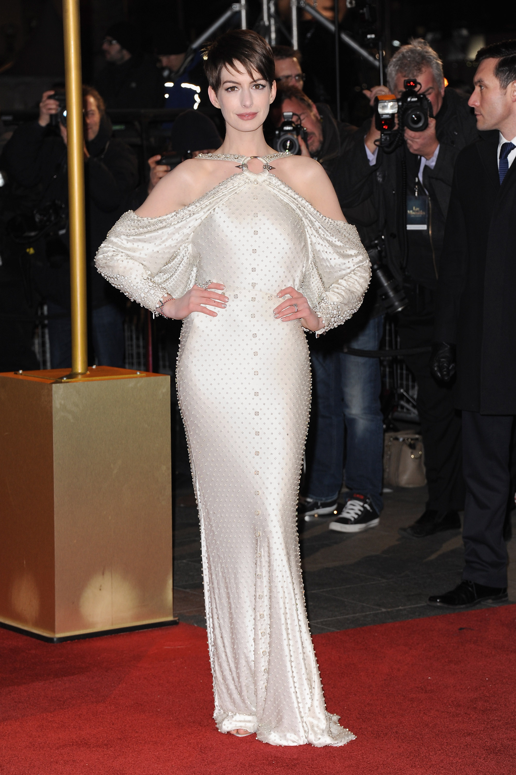 Anne Hathaway posed on the red carpet in London.