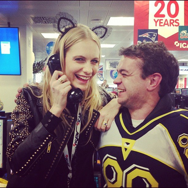 Poppy Delevingne wore cat ears to make a very important call. Source: Instagram user poppydelevingne