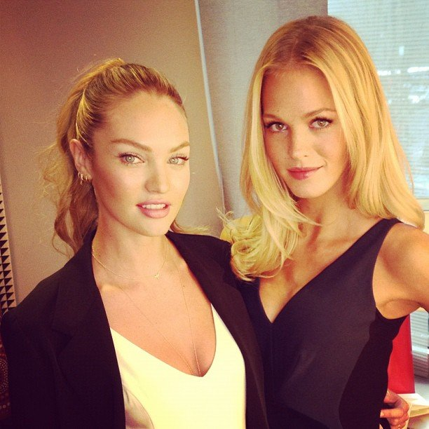 """Candice Swanepoel and Erin Heatherton """"smized"""" for the camera. Source: Instagram user angelcandices"""
