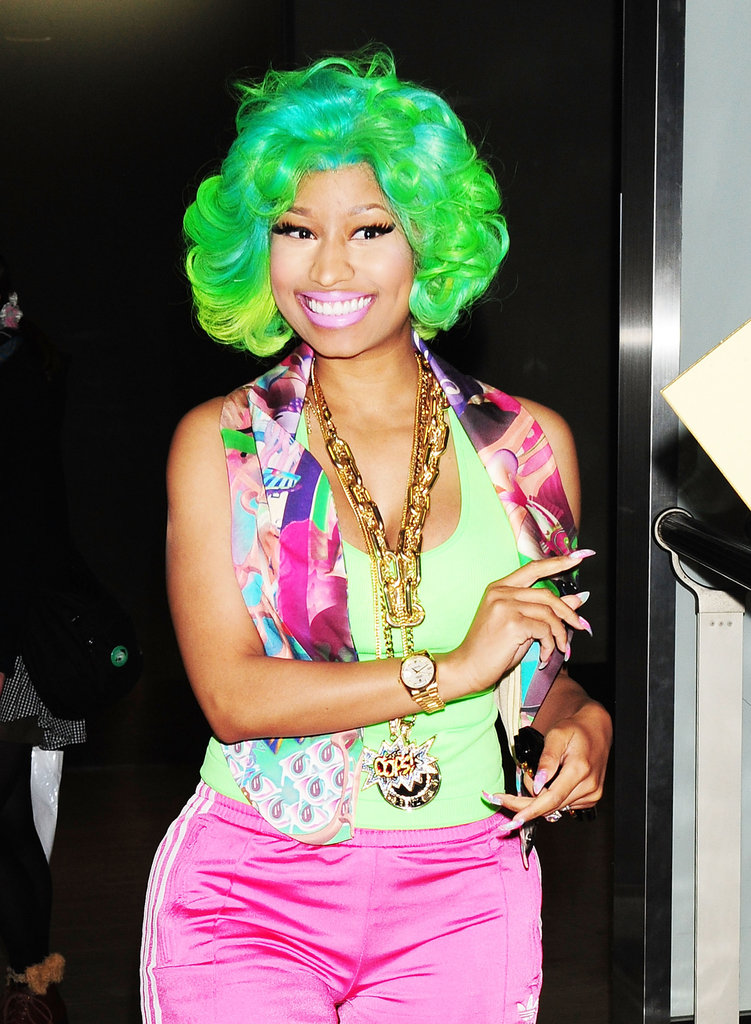 Never one to shy away from colour, Nicki had heads turning while visiting Japan in March.
