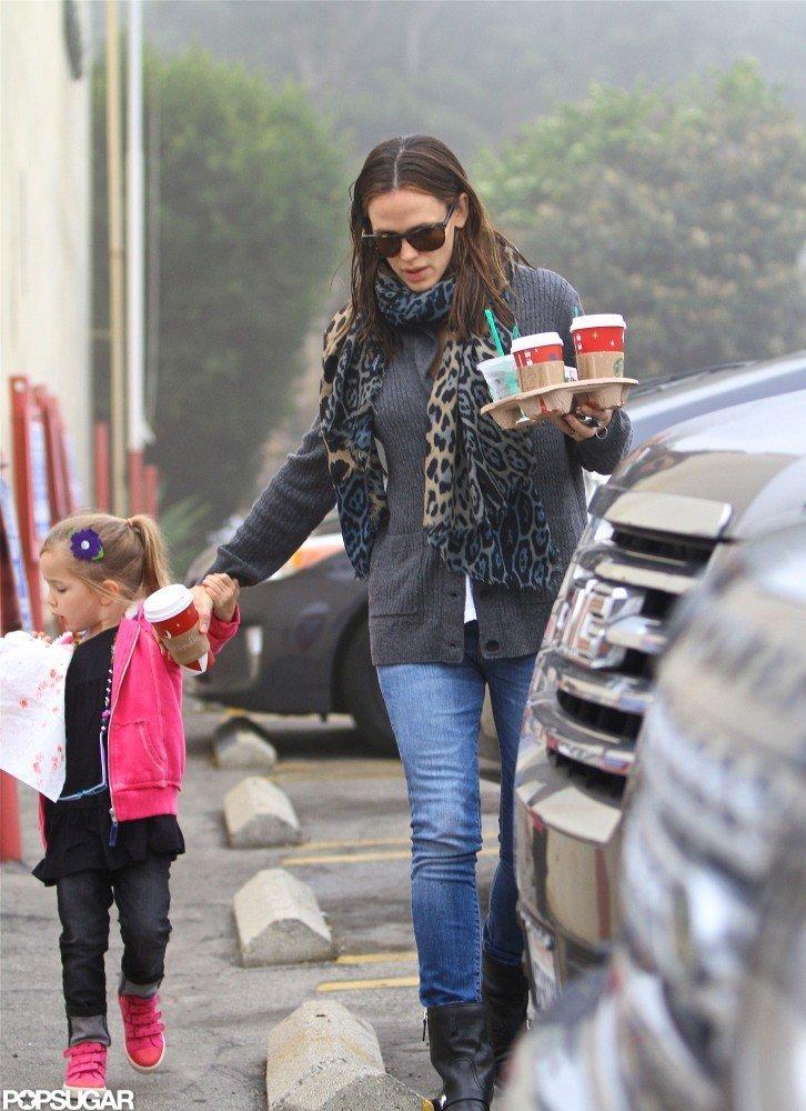 Jennifer Garner held hands with her middle child, Sera Affleck.