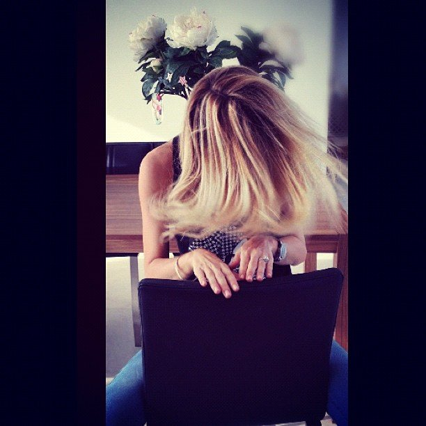 Jennifer Hawkins swished around her freshly coloured hair. Source: Instagram user jenhawkins_