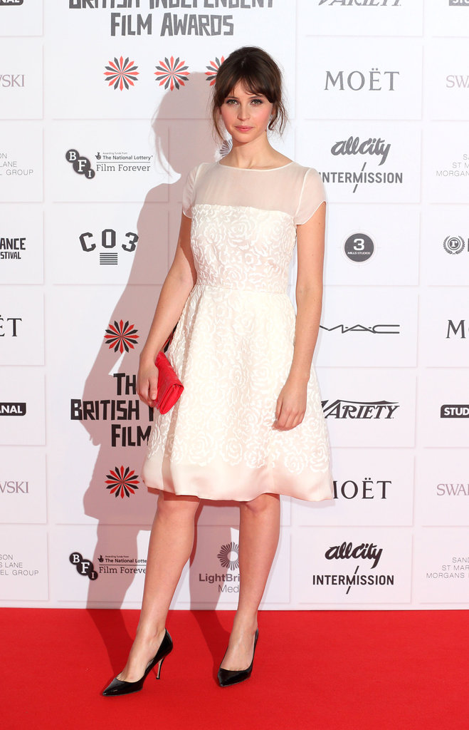 Felicity Jones wore white at the BIFAs.