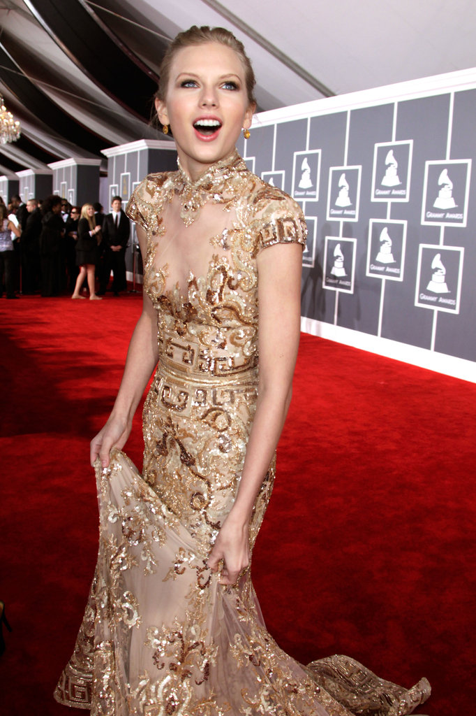 Taylor Swift expressed her happiness on the red carpet at the Grammys in February 2012.