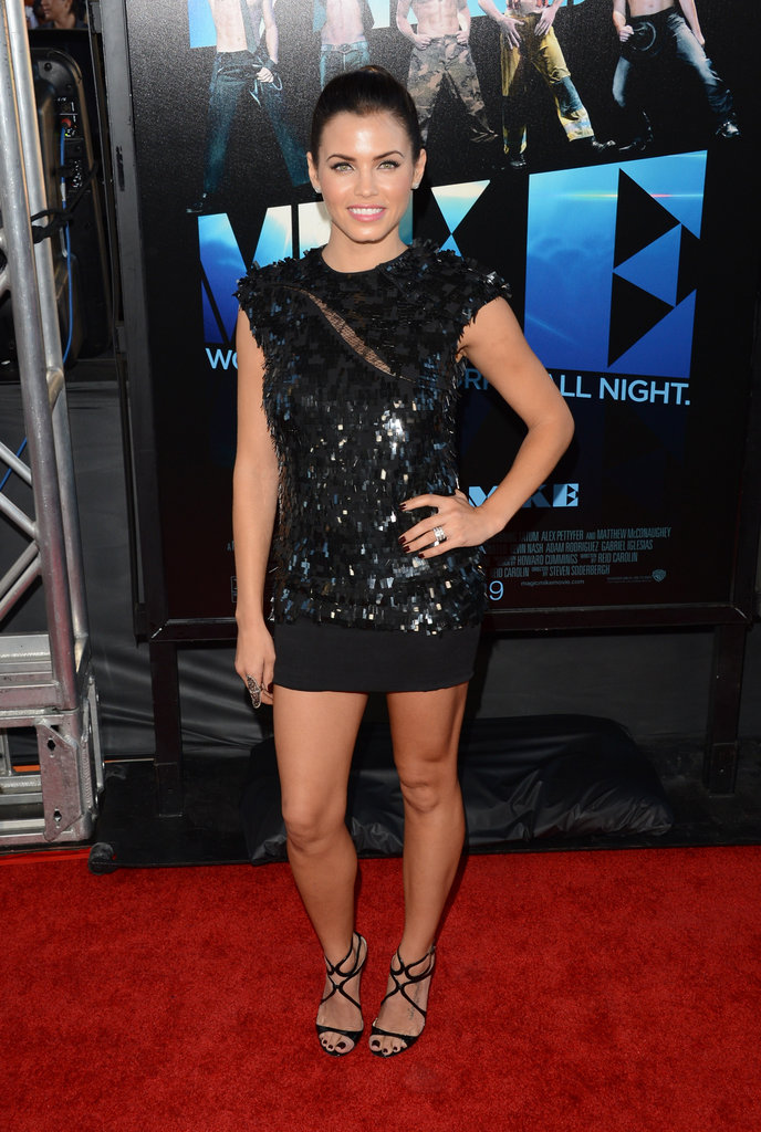 Jenna Dewan wore a black sequined mini to support husband Channing Tatum for the premiere of Magic Mike back in June.