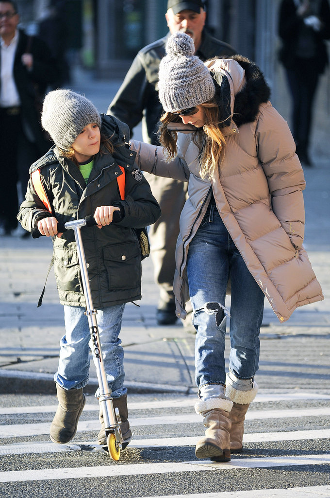 Sarah Jessica Parker walked with James Wilkie Broderick in NYC.