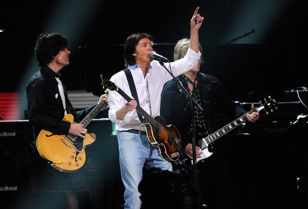 Paul McCartney was on stage at the 12-12-12 Robin Hood Relief Fund concert in NYC.