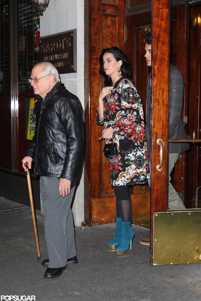Katy Perry and John Mayer took John's father to dinner at Sardi's.