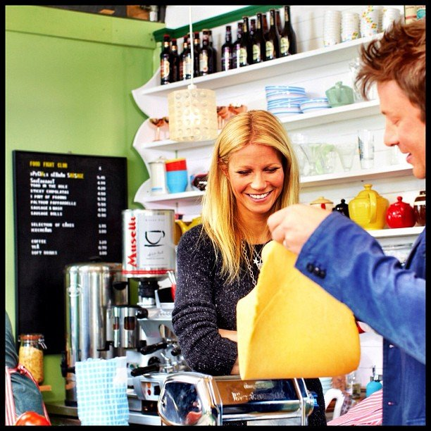 Gwyneth Paltrow made pasta during an appearance on friend Jamie Oliver's cooking show. Source: Instagram user jamieoliver
