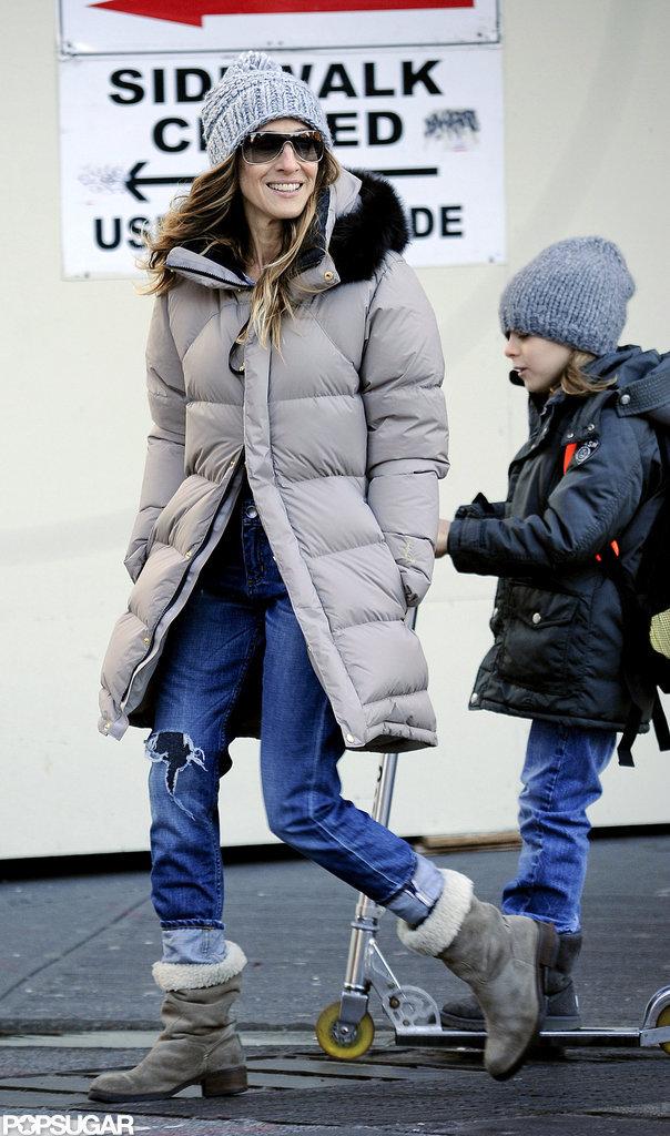 Sarah Jessica Parker walked alongside James Wilkie Broderick.
