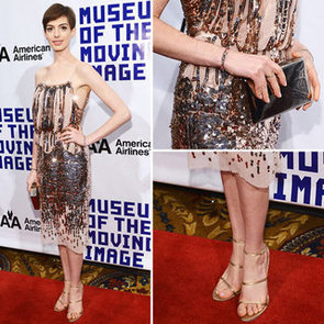 Steal Anne Hathaway's Sequinned Look for New Year's Eve
