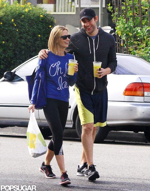 John Krasinski and Emily Blunt bought juice and food.