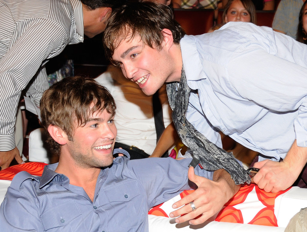 Chace Crawford and Ed Westwick shared a laugh backstage at the 2008 Teen Choice Awards in LA.