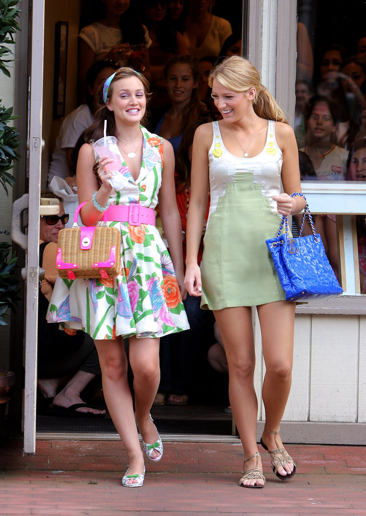 Sharing a laugh while cameras were rolling, Leighton Meester and Blake Lively filmed on location in Port Washington, NY, in June 2008.