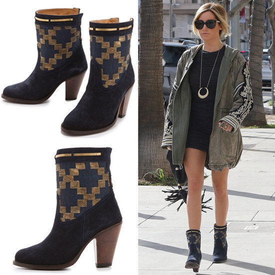 Ashley Tisdale's Aztec-print boots would be just as chic come Spring as they are right now.