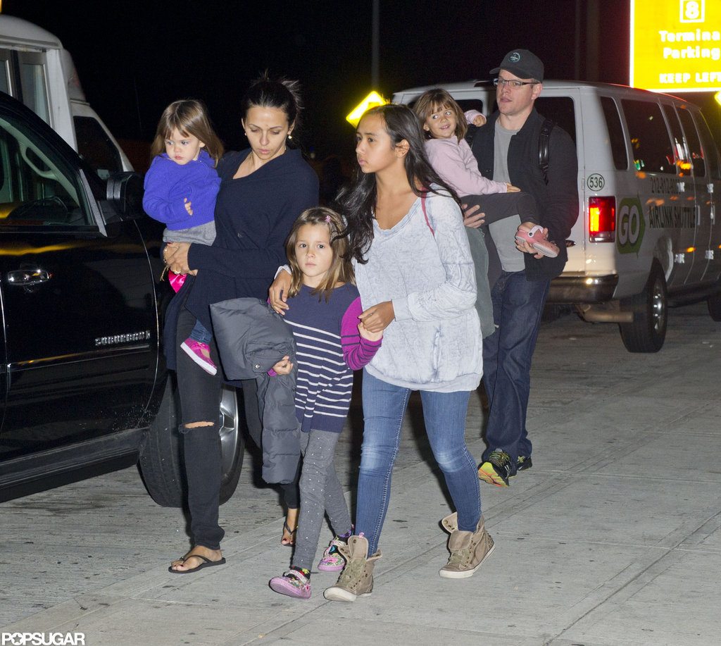 Matt Damon traveled with Luciana Damon, Isabella Damon, Alexia Barroso, Gia Damon, and Stella Damon.