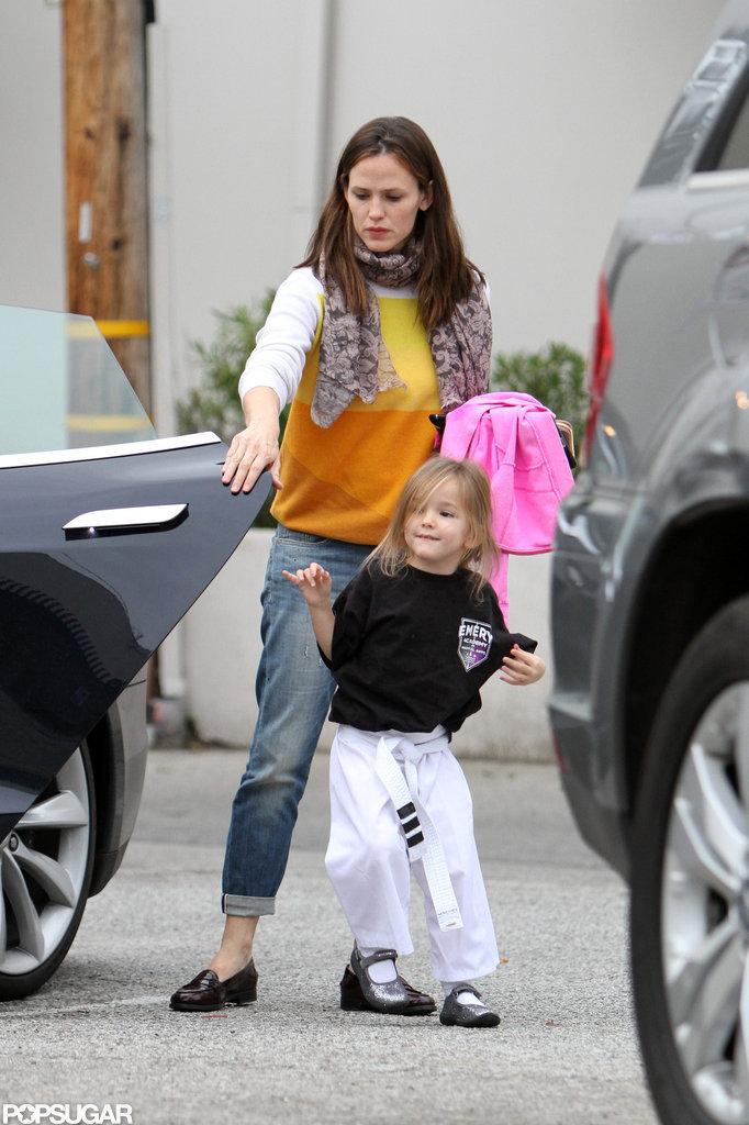 Jennifer Garner took Seraphina Affleck to karate.
