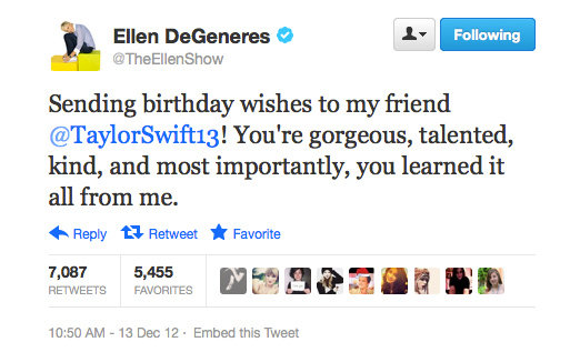 Ellen DeGeneres send a little birthday love (and humour) out to her friend Taylor.