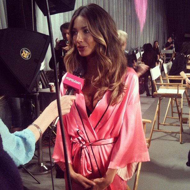 Victoria's Secret Angel Lily Aldridge talked about motherhood before hitting the runway.