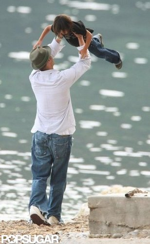 Brad Pitt joked around with Pax in France in May 2008.