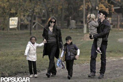Zahara, Pax, and Shiloh walked in Budapest in November 2010.