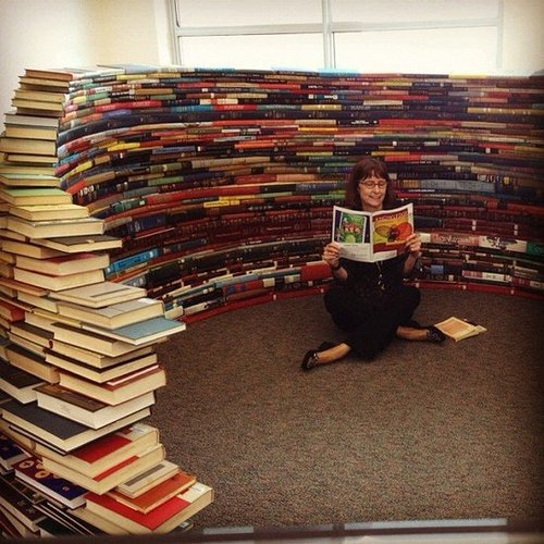 Annie Scudder shared a photo of her mom reading in a book igloo.