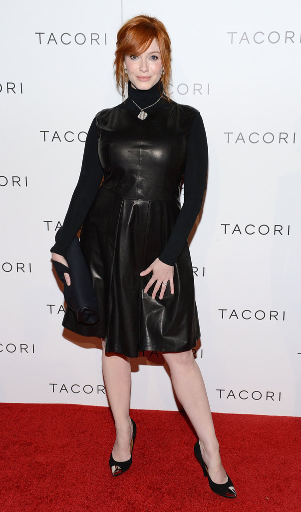 Christina Hendricks proved that turtlenecks can be anything but stuffy — she hit the red carpet in a BOSS Black by Hugo Boss leather dress, which she layered over a simple black turtleneck. We especially love how she wore her Tacori necklace over the top as well.