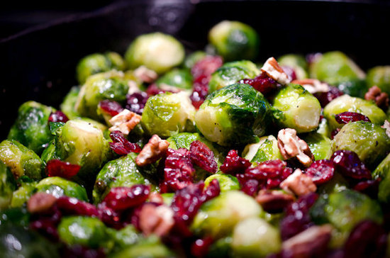 Holiday Brussel Sprouts with Pecans and Cranberries