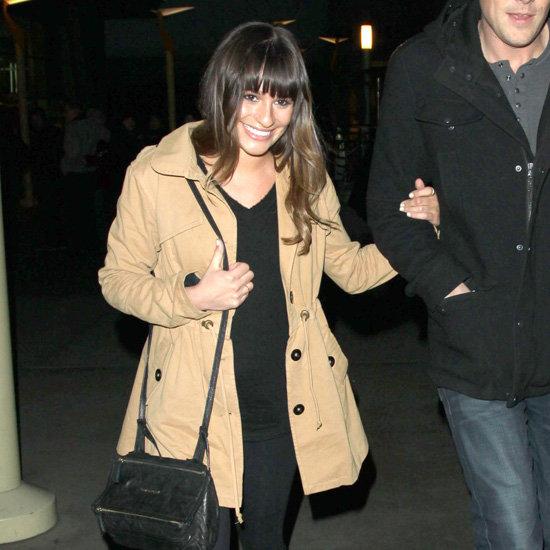 Lea Michele Wearing Khaki Jacket