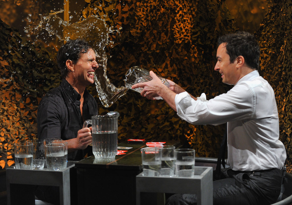 Jimmy Fallon splashed Tom Cruise with water during a skit for his show.