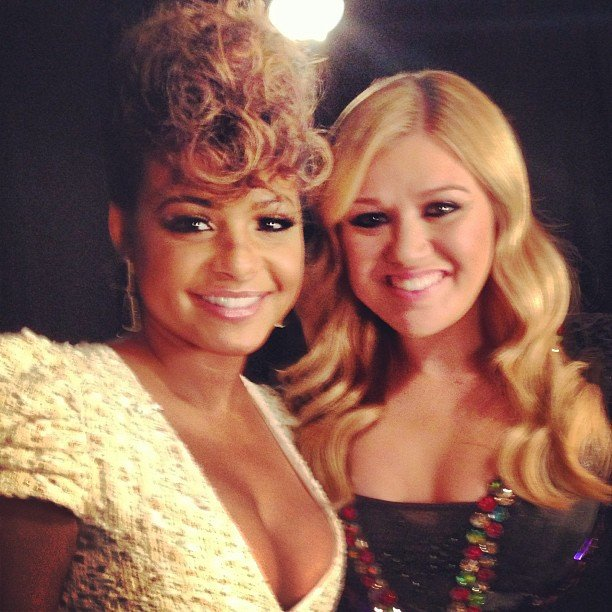 Christina Milian posed with Kelly Clarkson after her performance on The Voice. Source: Instagram user christinamilian