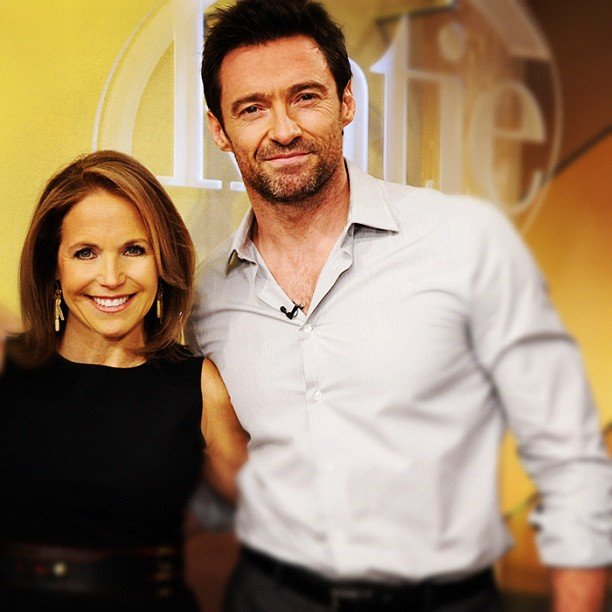 Katie Couric posed with her talk show guest Hugh Jackman. Source: Twitter user katiecouric