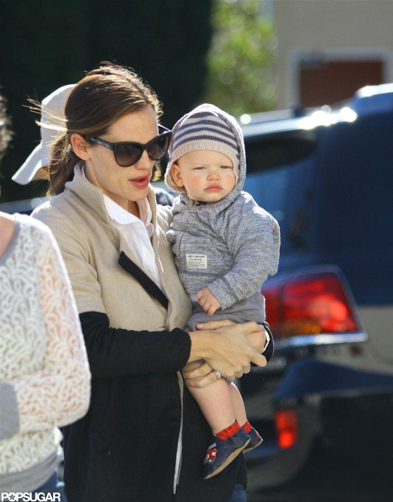 Samuel Affleck went along for Jennifer Garner's holiday shopping stop.