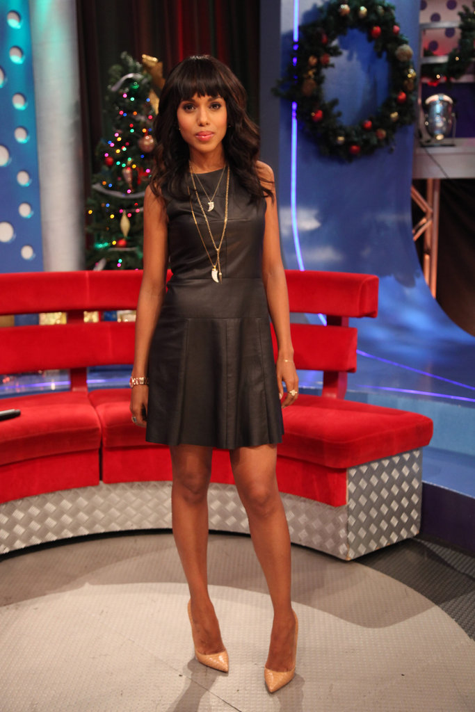 Kerry Washington's A.L.C. leather tank dress looks downright prim when paired with nude Christian Louboutin pumps and layered chains.
