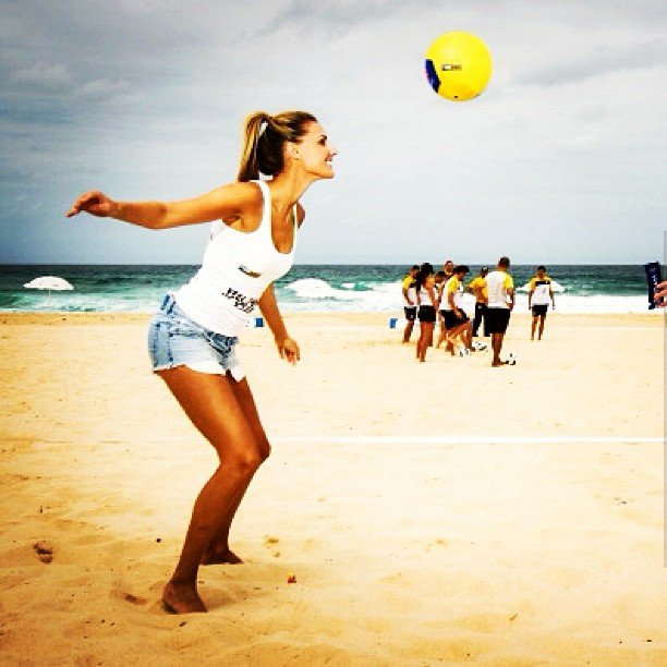 Laura Delevingne served up hard as she tried her hand at beach volleyball. Source: Instagram user lauradundovic