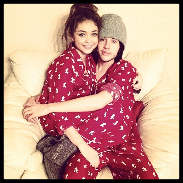 Sarah Hyland and her boyfriend, Matt Prokop, wore matching Christmas pyjamas. Source: Instagram user therealsarahhyland
