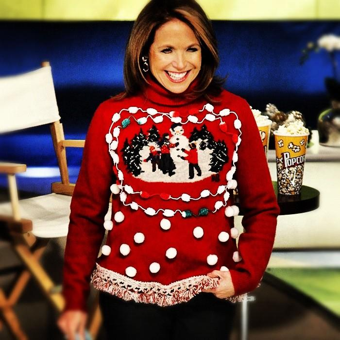 "Katie Couric celebrated Christmas in her ""best Christmas sweater."" Source: Twitter user KatieCouric"