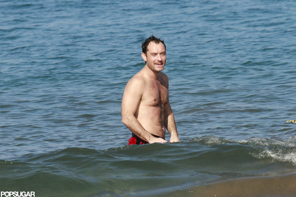 Jude Law relaxed.