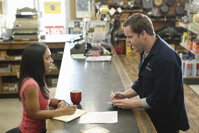 Danielle Nicolet and Kyle Bornheimer in Family Tools.
