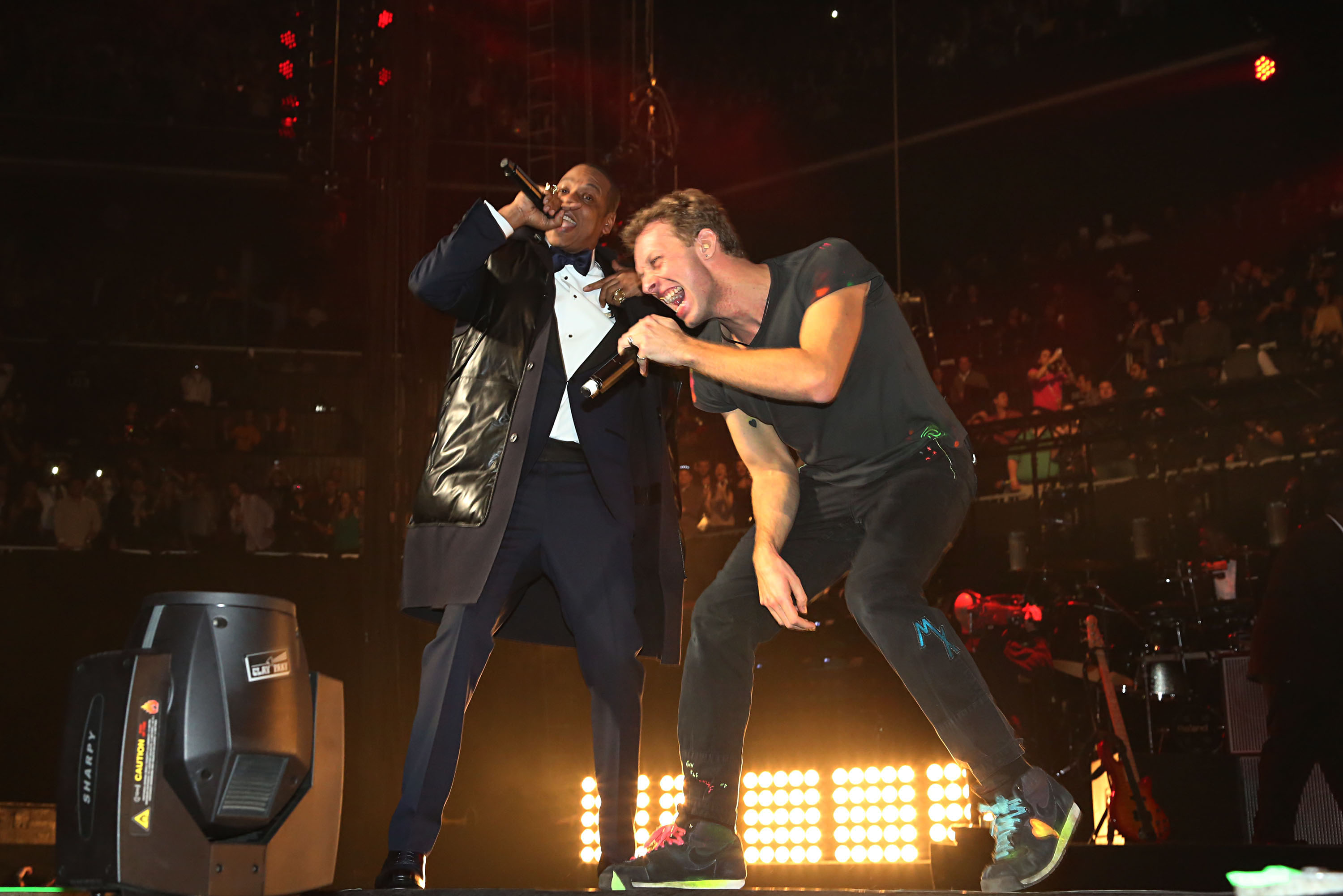Jay-Z was joined by Chris Martin at midnight to count down the New Year.