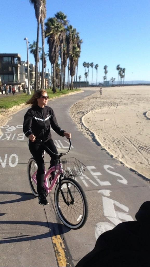 Heidi Klum took a sunny-day bike ride. Source: Twitter user heidiklum
