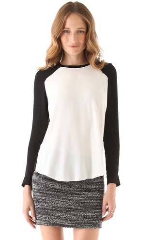 Add a sporty — and chic — touch to your officewear by sporting this Rebecca Taylor colorblock blouse ($225) with trousers. Then throw it on with leather leggings or jeans after work.
