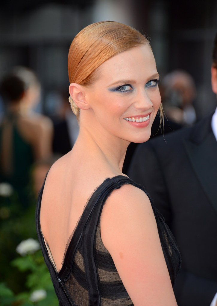 At last year's Emmys, January went for a modern take on beauty. She wore her hair slicked back in a tight, low bun, and her eyes were accented in an unexpected navy tint.
