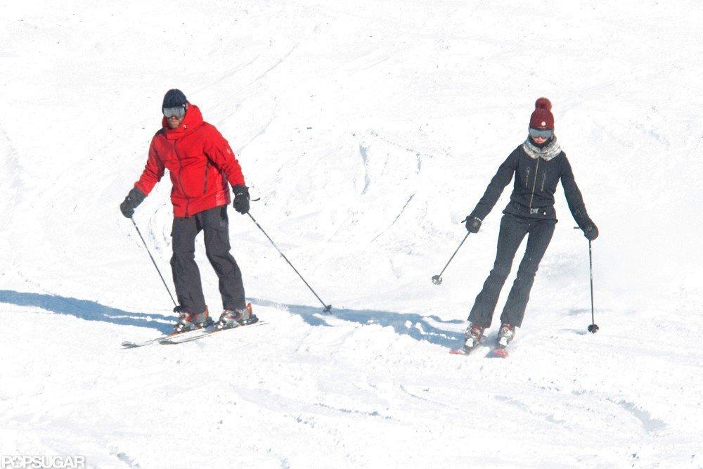 Jason Statham and Rosie Huntington-Whiteley went skiing together.