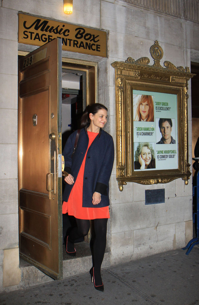 Katie Holmes wraps up one of her final performances for Dead Accounts.