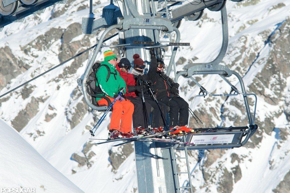 Rosie Huntington-Whiteley and Jason Statham hit the slopes together.
