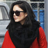Vanessa Hudgens Winterizes Her Red Maxi Dress With a Black Snood